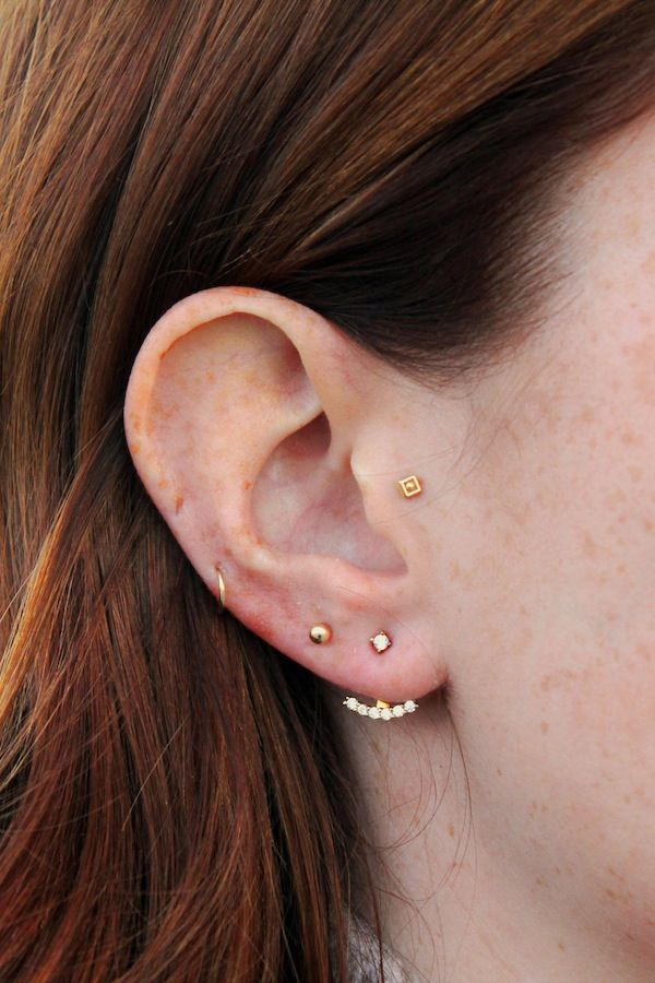Le Fashion Blog Multiple Piercings Looks Red Hair Mini Stud Stella And Bow Ear Jacket Small Thin Helix Side Hoop Model Libby Strachan Ribbed Turtleneck