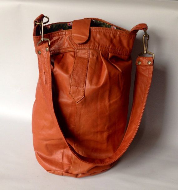 leather bucket bag  rust  recycled leather by valhallabrooklyn, 9.25x15