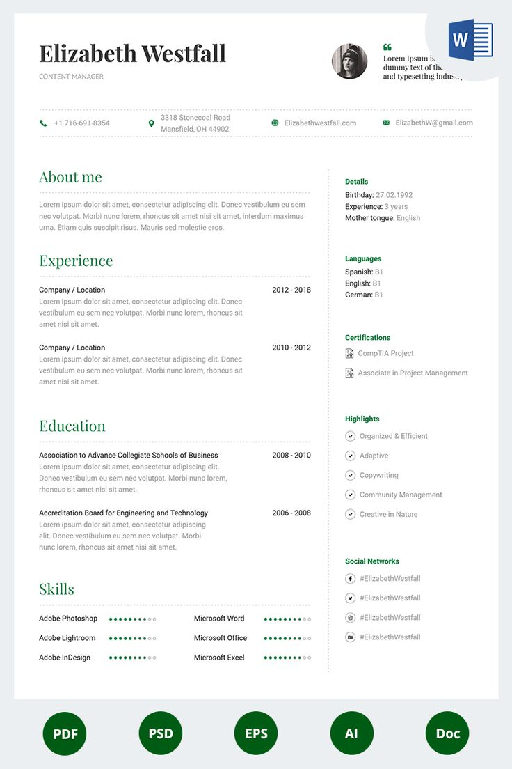 Elizabeth Westfall Content Manager Resume Template
