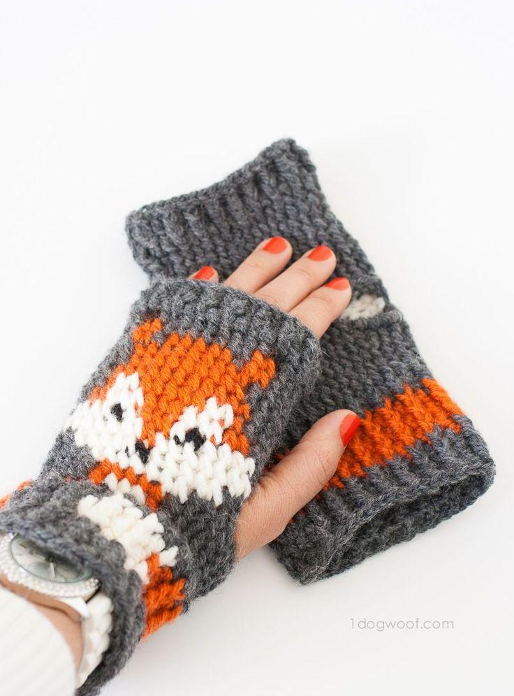 Netter Fuchs fingerlose Handschuhe gehäkelt Muster, freies Muster    www.1dogwoof.com