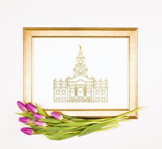 Impresión de hoja de oro del templo LDS Tijuana por thesaltyplace
