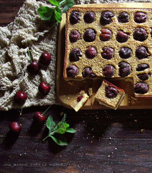 rich brown butter cherry bars with fresh basil and almond shortbread crust | une gamine dans la cuisine