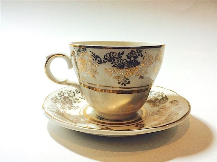 Vintage Alfred Meakin Golden Posy Fine China Teacup and Matching Tea Cup Saucer in 22KT Gold Trim by OfYearsPast on Etsy