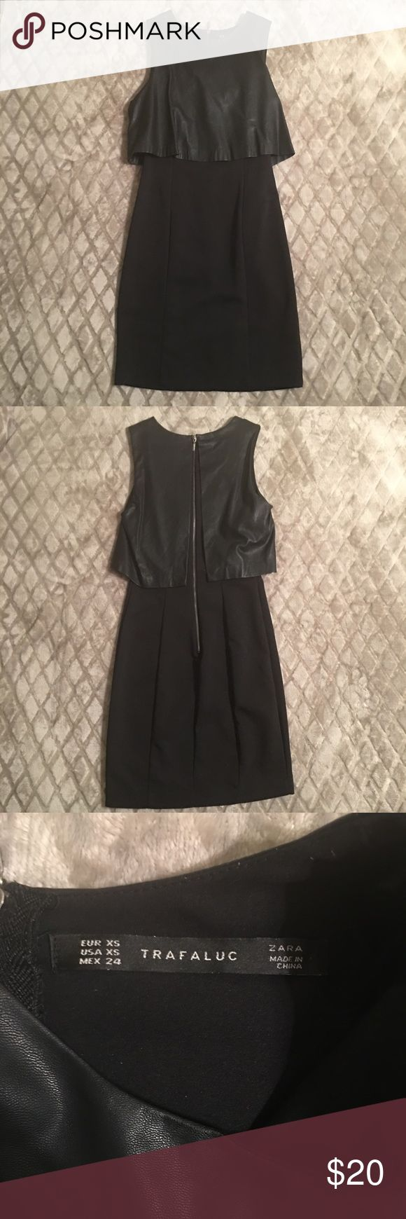 "Zara little black dress Cute form fitting black dress with faux leather top. My phone autocorrected ""leather"" to ""meat."" Chill, Lady Gaga phone. No meat dress here. Zara Dresses"
