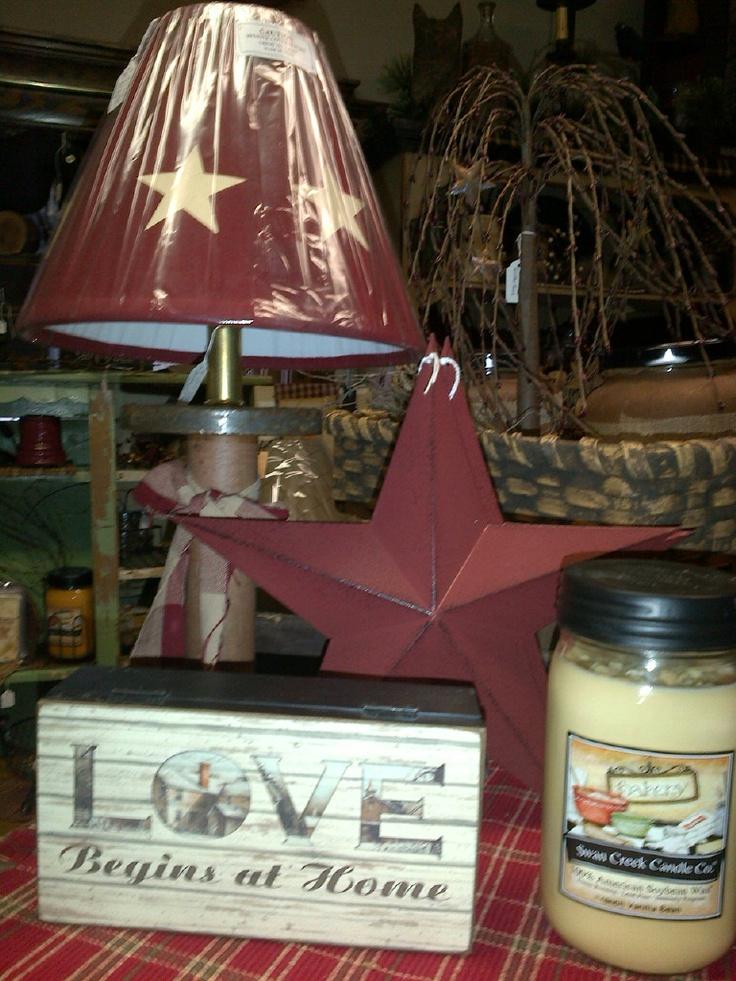 Spindle Lamp Red Star Candle Love Begins At Home Sign Willow Tree