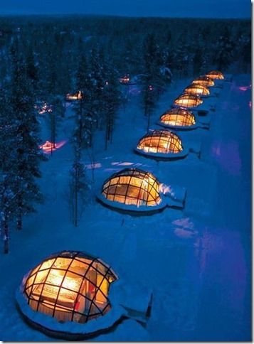 glass igloos in Finland where you can sleep under the Northern Lights!