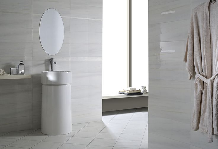 DETAILS  is a range of marble-effect bathroom tiling marked by elegant shading. Bianco Intenso/Bianco Gentile/Striato Gentile/Striato Intenso  Sizes: 20x60 45x45  Detail Bianco Intenso (Bathroom/available at our showroom)