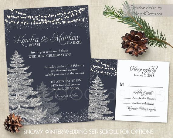 Winter Wedding Invitation Template Set Rustic Christmas Printable Wedding  Trees Navy Blue Wedding Snowflakes Wedding Stationery