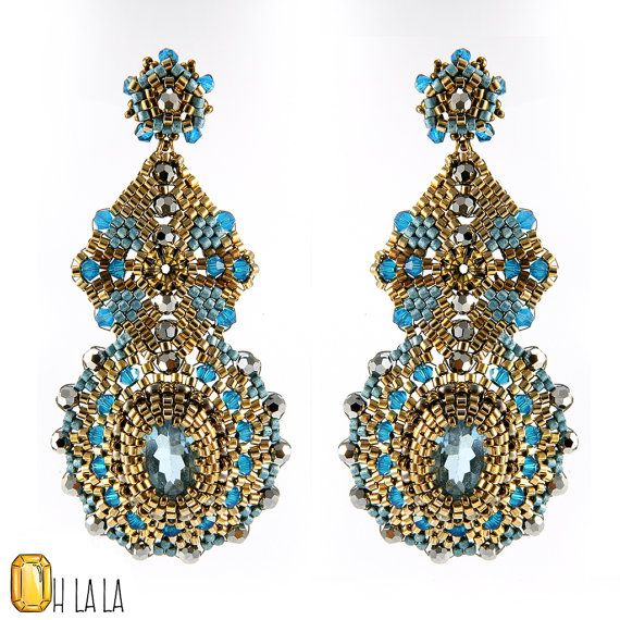 Blue Topaz and Gold Fill Statement Swarovski by OhlalaJewelry