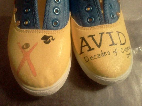 AVID program shoes Decades of College Dreams by StolleCreations, $40.00