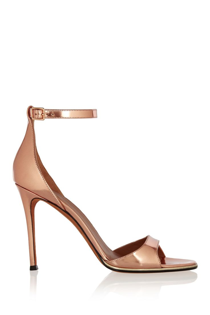 Givenchy | Mirrored-leather sandals in rose gold