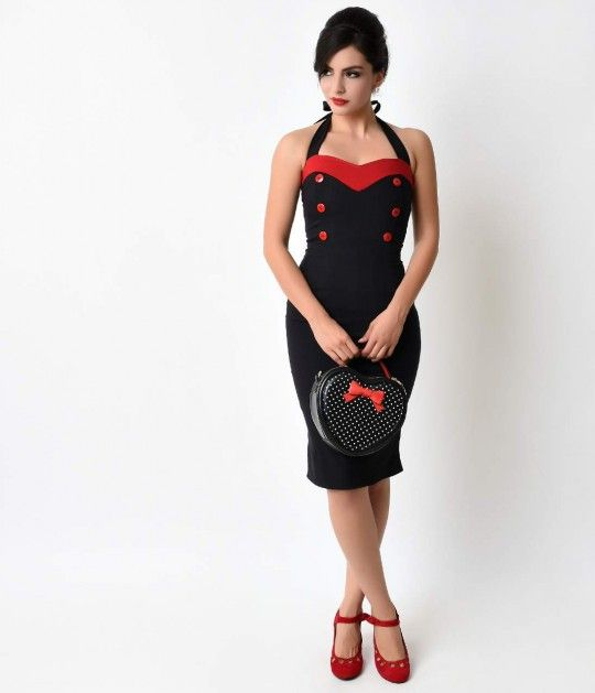 Treat yourself, dear. This va-va-voom wiggle dress is a handmade tribute to the bombshell retro dress styles of the 1950s, complete in a curve hugging stretch bengaline. With a self tie halter neck, sweetheart bust piped with red and faux buttons and stru