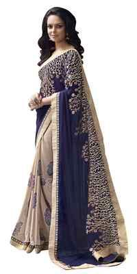 Fabulous Beige Border Worked Georgette Chiffon Saree Sarees on Shimply.com