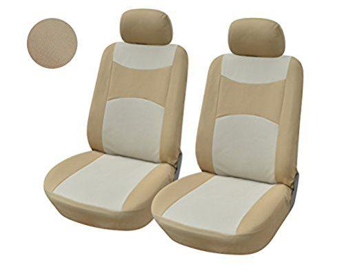 316003 Tan-2 Front Fabric Car Seat Covers + EZ Pass Toll Tag Holder Compatible To CHEVROLET CRUSE IMPALA MALIBU SILVERADO HD TAHOE SPARK SUBURBAN TRAVERSE VOLT 2017-2007