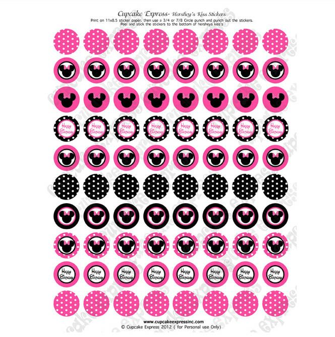 minnie mouse free printables  | Minnie Mouse Pink Printable Hershey's kiss Labels Stickers DIY