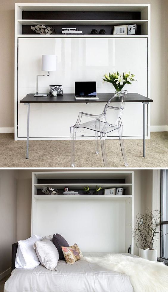 Glossy White Murphy Bed Desk