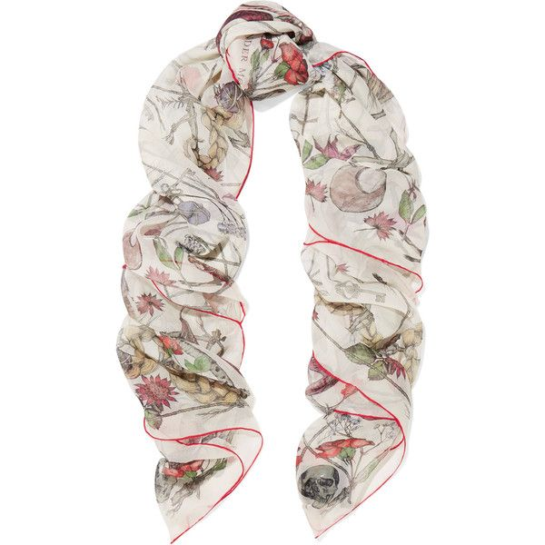 Alexander McQueen Devil's Trap printed silk-chiffon scarf ($315) ❤ liked on Polyvore featuring accessories, scarves, ivory, silk chiffon shawl, colorful scarves, alexander mcqueen, skull scarves and colorful shawl