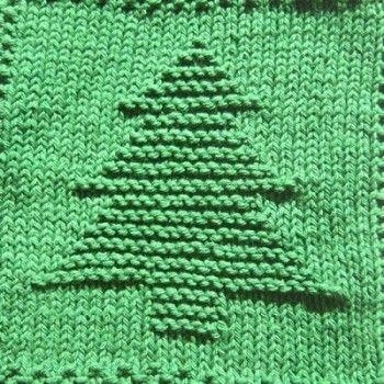 Christmas Tree Knit Dishcloth Pattern
