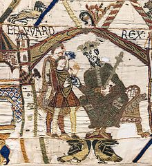 EDWARD(US) REX: Edward the Confessor, enthroned, opening scene of the Bayeux Tapestry