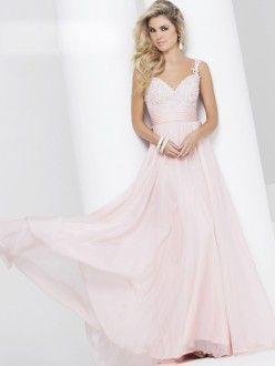 A-Line/Princess Sleeveless Straps Chiffon Applique Floor-Length Dresses