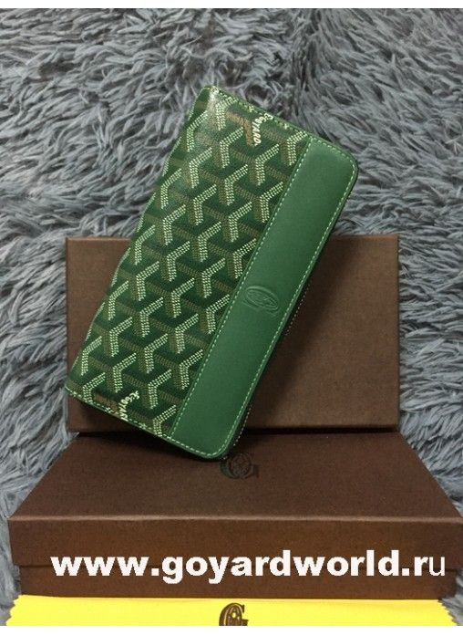Goyard Matignon Zip Around Long Wallet Green