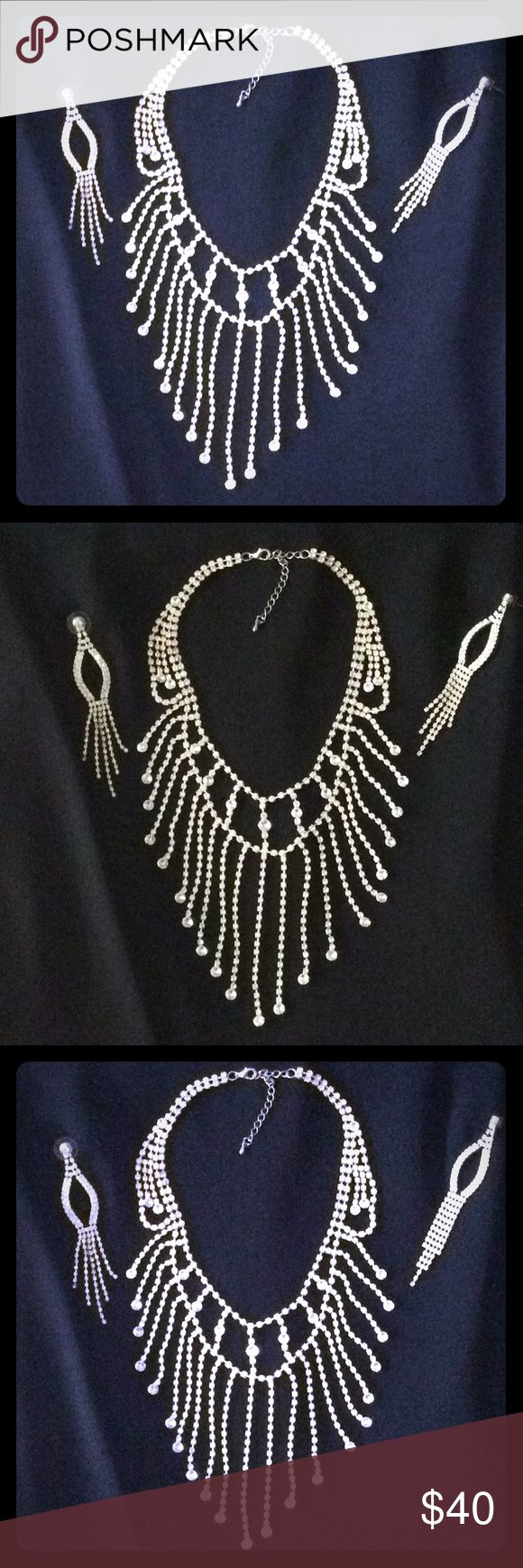 Rhinestone Necklace Beautiful Draping rhinestone necklace. Perfect for weddings, prom, homecoming, elegant occasions.  You will definitely stand out from the crowd. Jewelry Necklaces