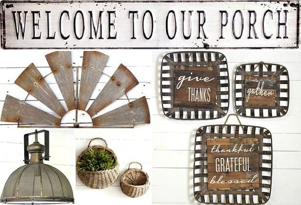 THE FRONT PORCH  Today's event – The Front Porch – will continue the style of what's inside outside. The porch is an extension of home and our designers have selected the perfect accent décor to give your porch soul!  Our Tobacco Basket Sign Wall Decor, Set of 3 will add cheer gratitude; our JUMBO Wire Mesh Industrial Pendant Light will add a dramatic highlight to any room it hangs; our Round Willow Wall Basket, Set of 2 is useful for display or storage; and our Welcome To Our Porch returns.