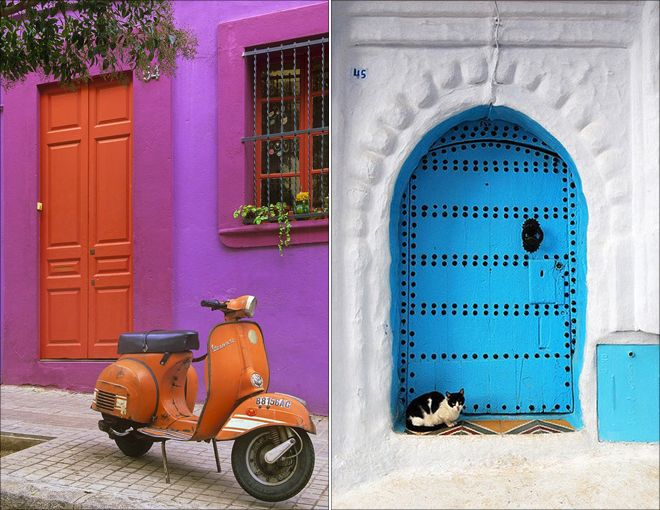 I have actually thought of a coral color with violet shutters...