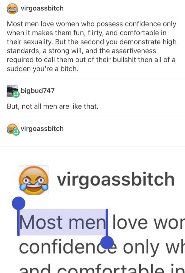 It just shows they don't care if we say all men or most men, they just don't want us to say anything at all