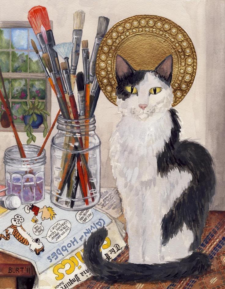 Saint Calvin & Hobbes paintingCat Artistry, Cat Art Conte, Calvin Hobbes, Cat Meow, Cat Art Selection, Calvin And Hobbes, Artists Cat, Art Cat, Artsy Cat