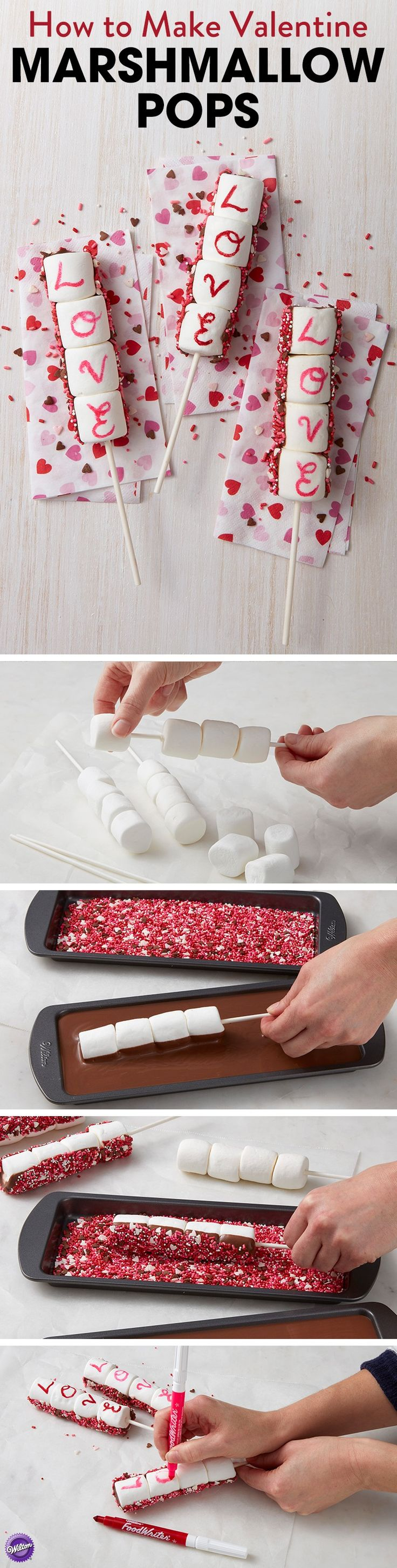 "How to Make Valentine Marshmallow Pops - Lightly grease lollipop sticks. Slide four marshmallows onto each stick, then dip back side of marshmallow pops into melted Candy Melts and into sprinkle mixture. Using FoodWriter markers, write ""LOVE"" on marshmallow pops."