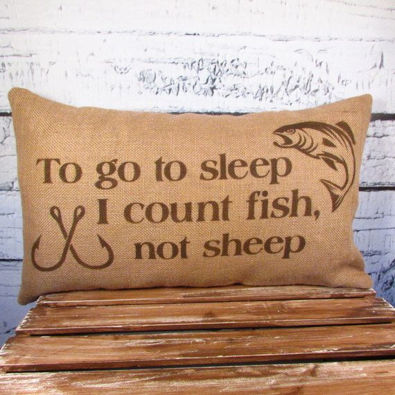Burlap fish  pillow cover - To go to sleep, I count fish not sheep - 12X20 - Pillow Insert Sold Separately