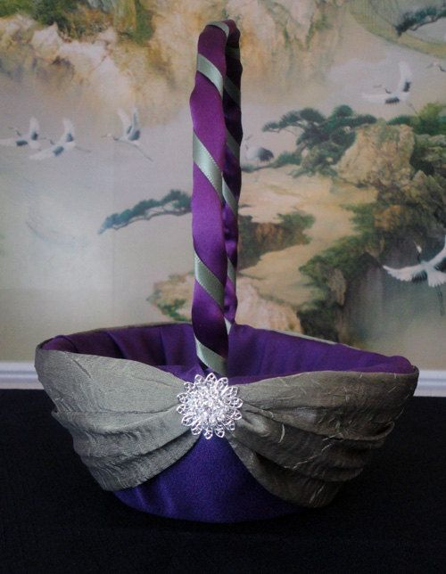 Wedding Accessories Flower Girl Basket Purple by SisiCreations, $50.00 purple and gray