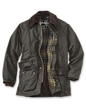 Barbour's waxed cotton jackets for men stand up to cold wind and rain.