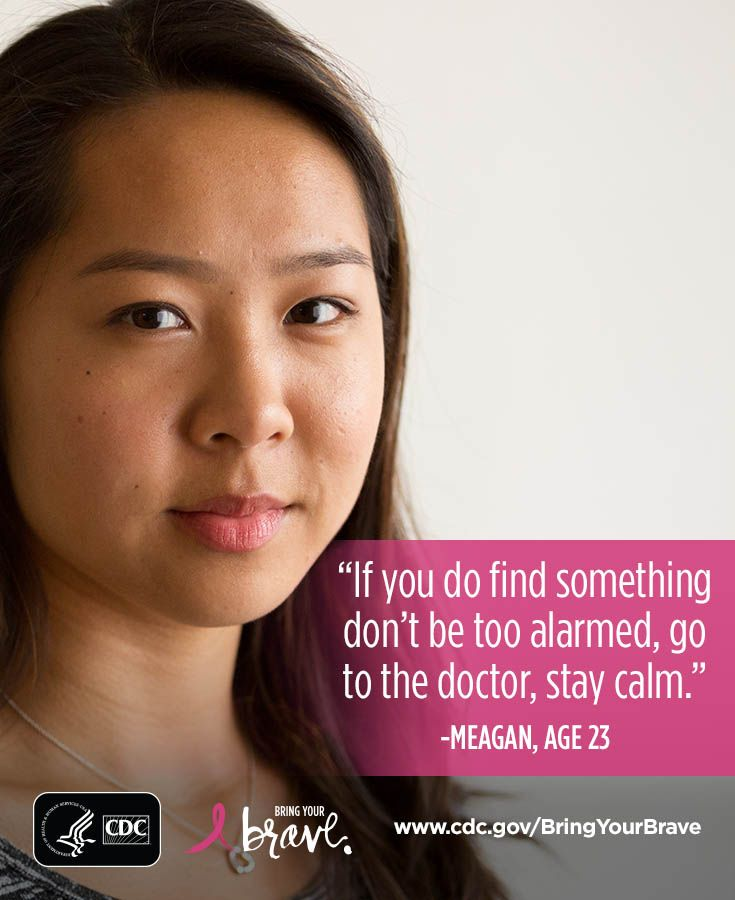 During her senior year of college, Meagan noticed an irregular pea-sized lump in her breast. Click for her story. #BringYourBrave