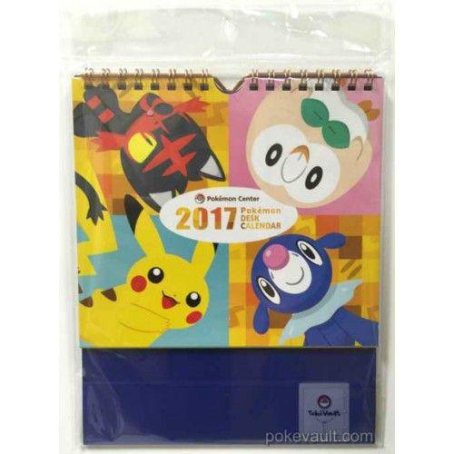 Pokemon Center 2016 Rowlet Popplio Litten Pikachu Lunala Solgaleo Desk Calendar For 2017