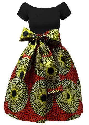 Meni African Print High Waist Full Skirt (Dark Orange/Green)