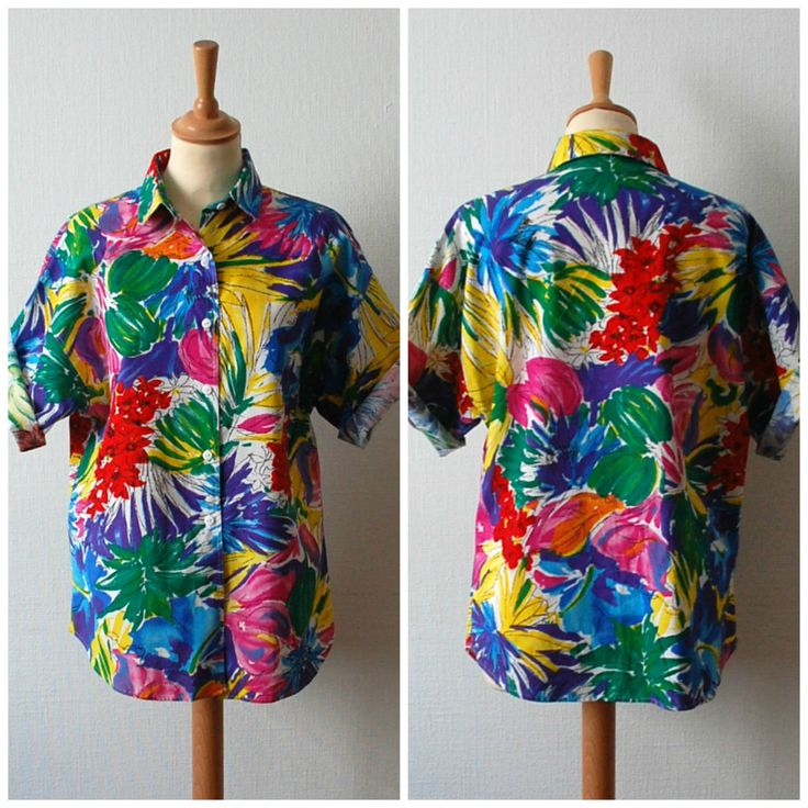Vintage Floral Tie Neck Blouse, Women's Size M/L by CamilleVintage on Etsy