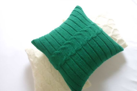 Cable Knit Pine Green Pillow Cover Throw Pillow Christmas