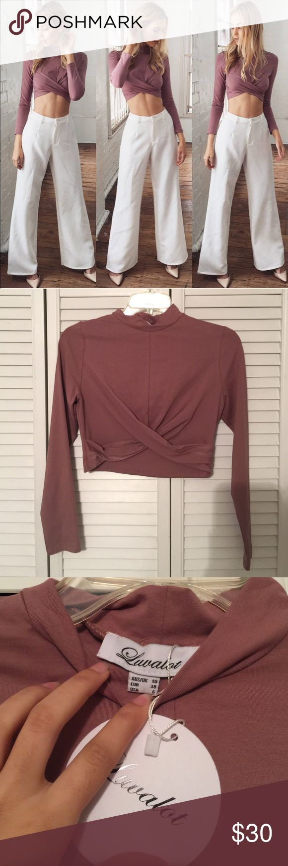 BNWT Mura boutique long sleeve crop top Super cute and color is so on trend for spring, purchased from Mura boutique Australia, listed as sabo skirt because of similar style, about a month ago and just haven't worn it. Fits tight but true to size, best for a small/xs Sabo Skirt Tops Crop Tops