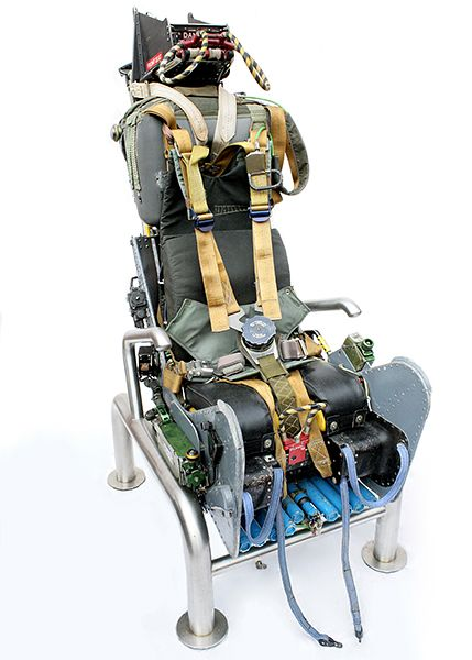 A truly one-of-a-kind chair for military and aviation buffs. This is the Martin Baker Mk6 ejector seat, originally used in a XV157 Buccaneer that flew with the British Royal Navy and the RAF.