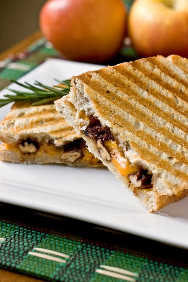 Cheddar and Apple Butter Panini with Rosemary Candied Pecans More
