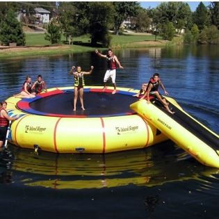 Island Hopper - 25 ft. Giant Jump Island Hopper Water Trampoline Multicolor - 25GIANTJUMPTRAMP - Shop for Water Trampolines from Hayneedle.com! If there is one thing we know about bodies of water it's that they're more fun when you jump off a trampoline into them. The 25 ft. Giant Jump Island Hopper Water Trampoline allows you and a party of your closest landlubbing pals to safely do just that.