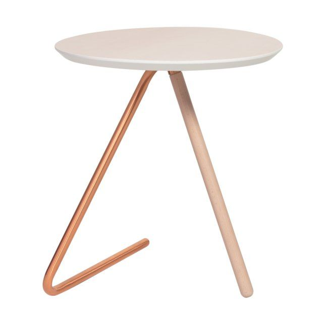 Less Than Three White and Copper Side Table   Bedroom   Oliver Bonas