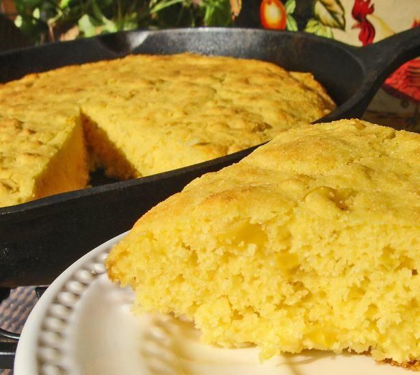 Good Eats Creamed Corn Cornbread Finally, cornbread similar to what I remember from school...moist and airy. Would have been better with regular ground cornmeal instead of the coarse I had on hand but we'll eat it!