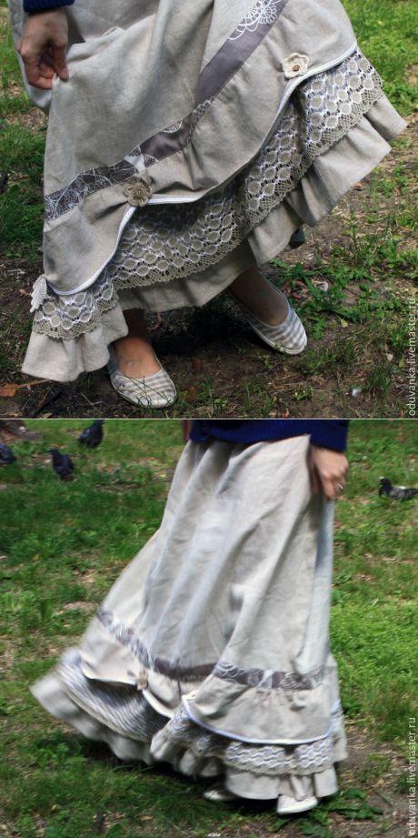 """Купить Длинная юбка """"Цветы осени"""" - коричневый, цветочный, стиль бохо, бохо-стиль"""