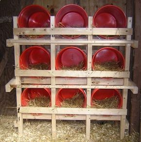 bucket nesting boxes... so easy to keep clean, instead of wood boxes.
