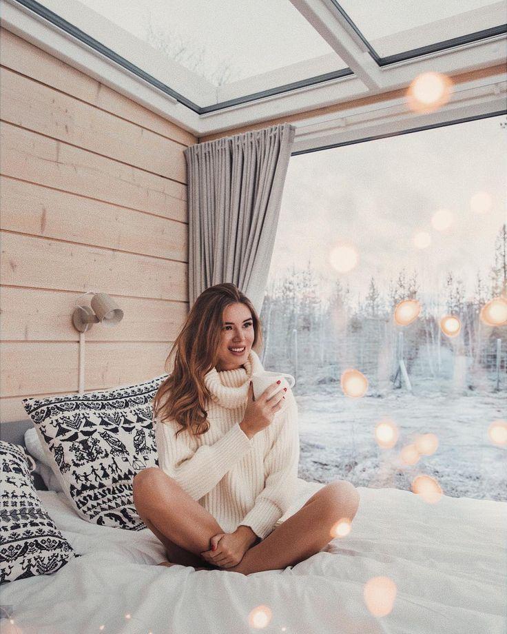 Оформить фотоэффект с зимой постели против