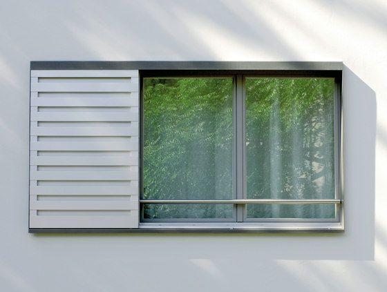 Alu-Schiebeläden | Streifen-Lamellen von Jaloumatic | Fensterläden