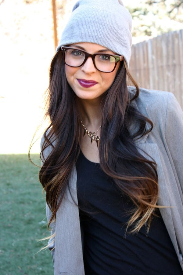 subtle ombre with grey knit beanie and vamp lips